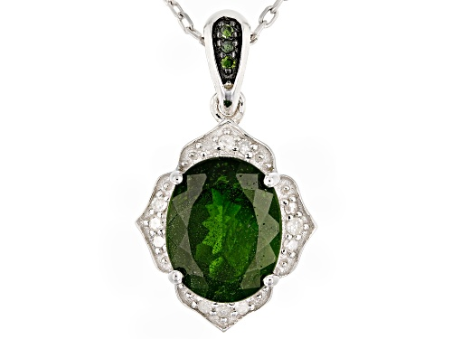 Photo of 2.85ct chrome diopside, .08ctw white & 3 green diamond accents rhodium over silver pendant w/chain