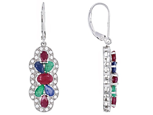 Photo of 2.04ctw ruby, .85ctw emerald, 1.40ctw blue sapphire & white zircon rhodium over silver earrings