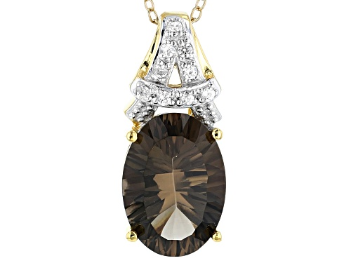 Photo of 4.59ct Quantum® Cut Smoky Quartz with .16ctw Zircon 18k Gold Over Sterling Silver Pendant with Chain