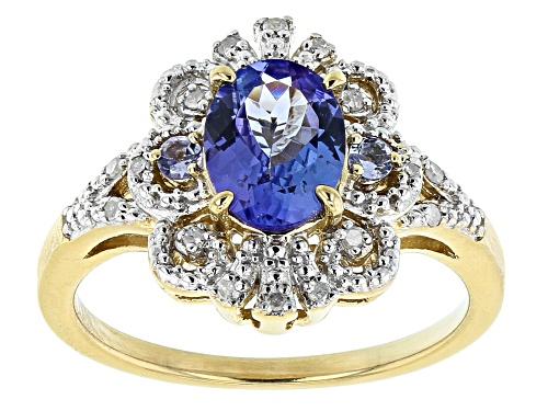 Photo of 1.09ctw Mixed Shape Tanzanite With .07ctw Round Diamond Accent 18k Gold Over Sterling Silver Ring - Size 8