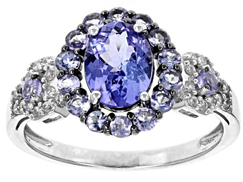 Photo of 1.62ctw Oval and Round Tanzanite With .14ctw Round White Zircon Rhodium Over Sterling Silver Ring - Size 7