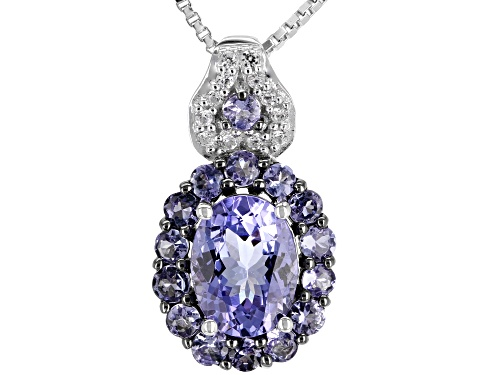 Photo of 1.59ctw Oval & Round Tanzanite With .07ctw White Zircon Rhodium Over Silver Pendant With Chain