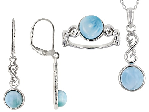 Photo of 6mm and 8mm Round Larimar Rhodium Over Sterling Silver Ring, Earrings, and Pendant With Chain Set