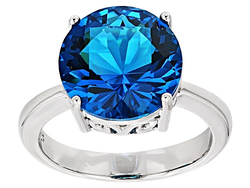 Photo of 4.45ct Round Paraiba Tourmaline Simulant Rhodium Over Sterling Silver Solitaire Ring - Size 7