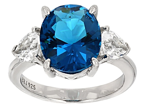 Photo of 2.80ct Paraiba Tourmaline Simulant with .93ctw White Topaz Rhodium Over Sterling Silver Ring - Size 11