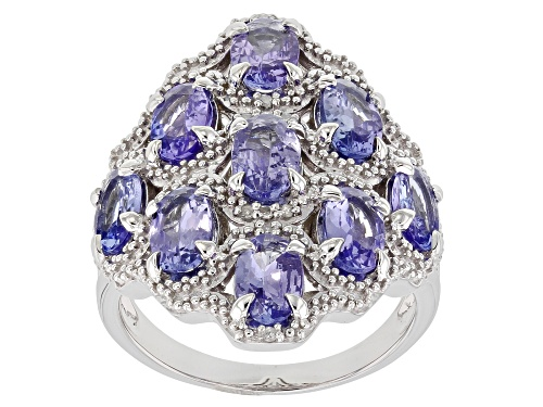 Photo of 3.44ctw Tanzanite With .03ctw Diamond Accent Rhodium Over Sterling Silver Ring - Size 8
