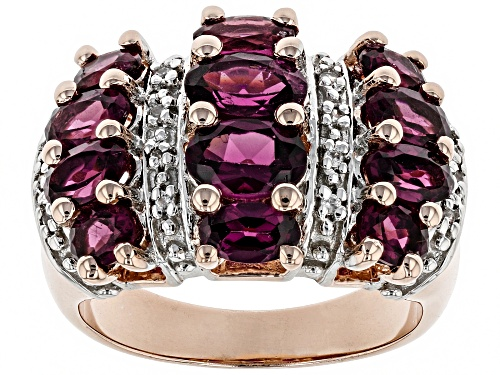 Photo of 2.90ctw Raspberry Color Rhodolite with .06ctw White Zircon 18k Rose Gold Over Sterling Silver Ring - Size 8