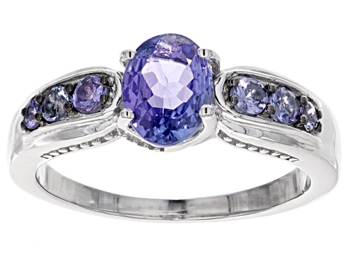 Photo of 1.28ctw oval and round tanzanite rhodium over sterling silver ring - Size 8