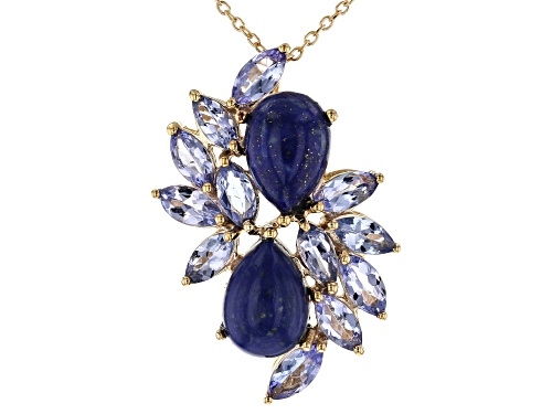 Photo of 10x7mm Lapis Lazuli With 2.44ctw Tanzanite 18k Yellow Gold Over Sterling Silver Pendant With Chain