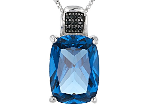 Photo of 5.73CTW LAB CREATED BLUE SPINEL & .05CTW BLACK SPINEL RHODIUM OVER SILVER PENDANT WITH CHAIN