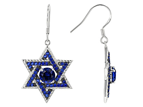 Photo of 2.42ctw Round Lab Created Blue Spinel Rhodium Over Sterling Silver Star of David Dangle Earrings