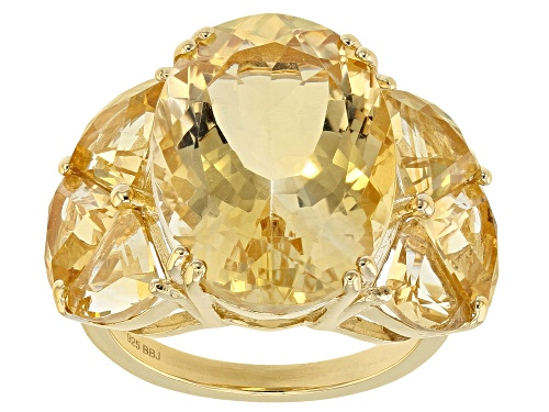 Photo of 9.77ct Oval & 3.31ctw Fancy Shape Citrine 18k Yellow Gold Over Sterling Silver Ring - Size 11