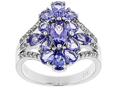 Photo of .43ct Marquise, 1.64ctw Pear Shape Tanzanite & .22ctw Zircon Rhodium Over Silver Ring - Size 8