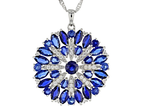 Photo of 8.21ctw Mixed Kyanite, .63ctw Zircon Rhodium Over Sterling Silver Pendant With Chain