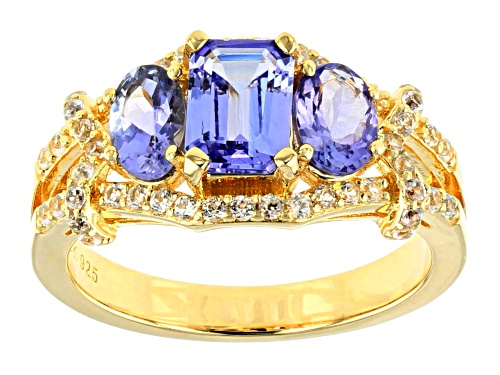 1.00ct Emerald Cut & .77ctw Oval Tanzanite, .38ctw Zircon 18k Yellow Gold Over Silver Ring - Size 8