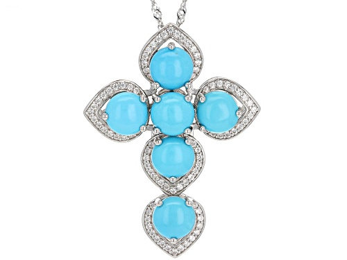 Photo of 8mm Round Sleeping Beauty Turquoise, .72ctw Zircon Rhodium Over Silver Cross Pendant W/ Chain