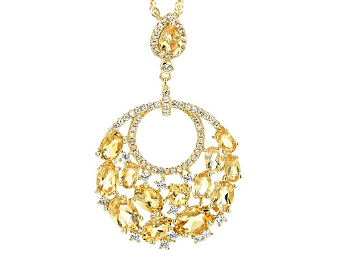 Photo of 4.82ctw Mixed Shaped Golden Citrine & .55ctw Zircon 18k Yellow Gold Over Silver Pendant W/ Chain