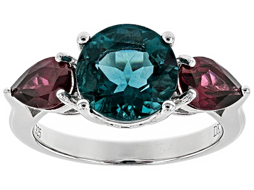 Photo of 3.15CT ROUND TEAL FLUORITE, 1.46CTW PEAR SHAPE RASPBERRY COLOR RHODOLITE RHODIUM OVER SILVER RING - Size 6