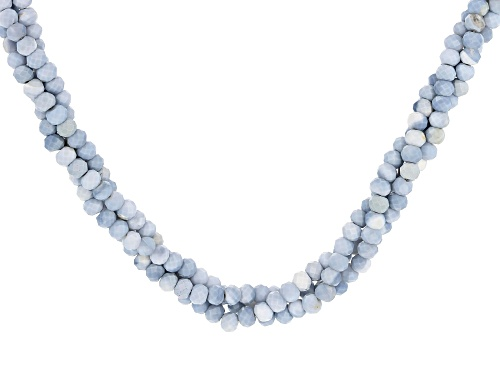 Photo of 2mm-3mm Blue Opal Rhodium Over Sterling Silver Twisted Strand Necklace - Size 20