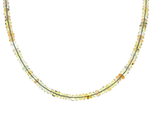 Photo of GRADUATED 3-4.5MM ETHIOPIAN OPAL RONDELLE BEAD STERLING SILVER NECKLACE STRAND - Size 18
