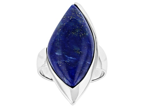 Photo of 24x12mm fancy shape lapis lazuli solitaire rhodium over sterling silver ring. - Size 6