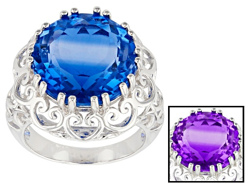 Photo of 12.75ct Round Color Change Fluorite Rhodium Over Sterling Silver Ring - Size 8