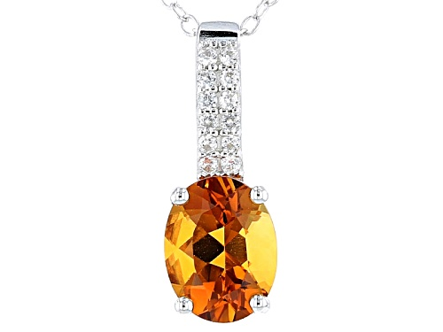 Photo of 1.33ct Oval Madeira Citrine And .11ctw Round White Zircon Sterling Silver Pendant With Chain