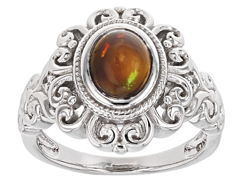 Photo of .70ct Oval Black Ethiopian Opal And .10ctw Round White Zircon Sterling Silver Ring - Size 8