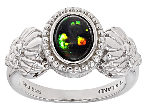 Photo of .70ct Oval Black Ethiopian Opal Sterling Silver Solitaire Ring - Size 6