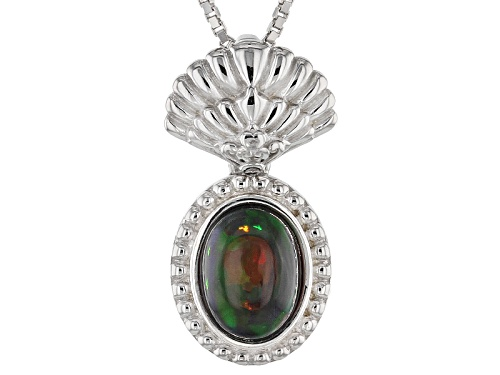 Photo of .70ct Oval Black Ethiopian Opal Sterling Silver Pendant With Chain