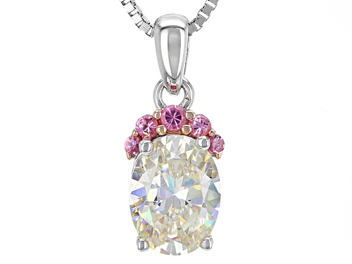 Photo of 1.56ct Fabulite Strontium Titanate & .05ctw Burmese Pink Spinel Rhodium Over Silver Pendant & Chain
