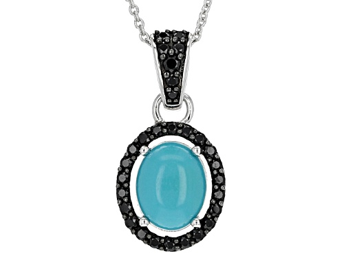 Photo of 10x8mm Oval Sleeping Beauty Turquoise And .64ctw Black Spinel Sterling Silver Pendant With Chain