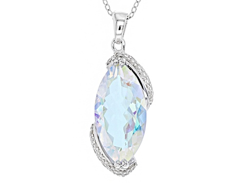 Photo of 7.01ct Marquise Mercury Mist® Mystic Topaz® And .62ctw White Zircon Silver Pendant With Chain