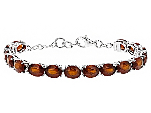 Photo of 21.00 Ctw Oval Hessonite Sterling Silver Tennis Bracelet. - Size 7.25
