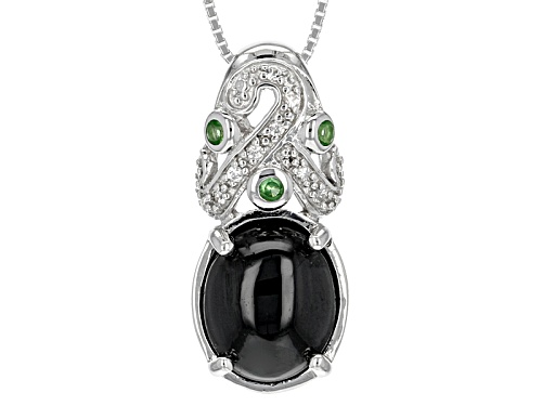 Photo of 7.00ct Oval Black Spinel, .13ctw Mint Tsavorite And .16ctw White Zircon Silver Pendant With Chain