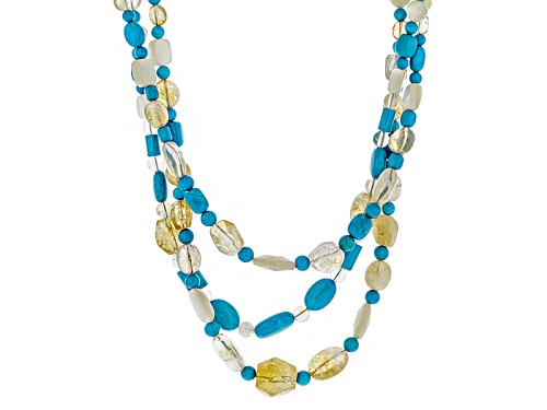Photo of Mixed Shape Blue Magnesite, Mother Of Pearl, And Citrine Sterling Silver 3 Strand Bead Necklace - Size 18