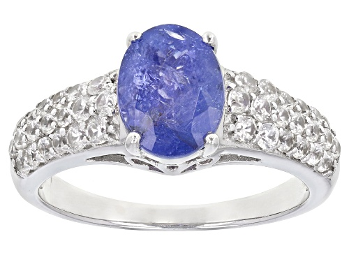 Photo of 1.70ct Oval Tanzanite And .88ctw Round White Zircon Sterling Silver Ring - Size 10