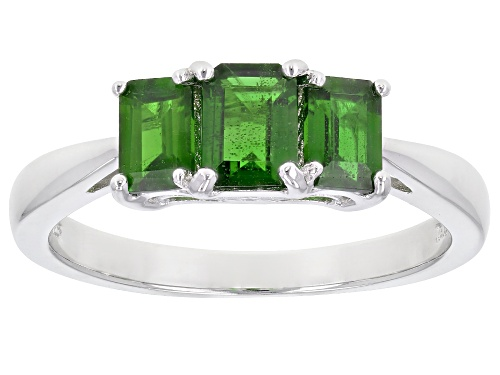 Photo of 1.94ctw Emerald Cut Russian Chrome Diopside Rhodium Over Sterling Silver 3-Stone Ring - Size 12