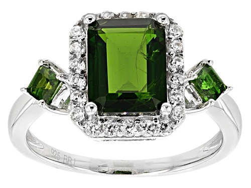 Photo of 2.71ctw Emerald Cut And Square Russian Chrome Diopside With .54ctw Round White Zircon Silver Ring - Size 11
