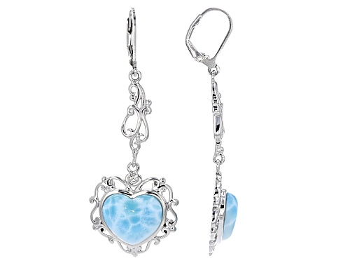 Photo of 14x12mm Heart Shape Cabochon Larimar Sterling Silver Dangle Earrings