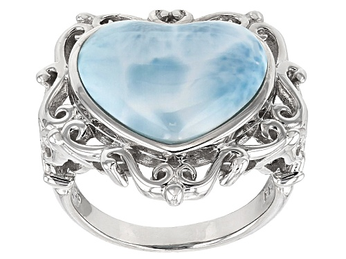 Photo of 16x14mm Heart Shape Cabochon Larimar Sterling Silver Ring - Size 5