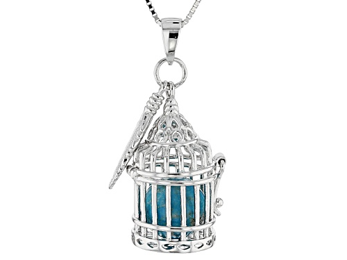 Photo of 10mm Round Blue Turquoise Bead In Silver Bird Cage With Feather Charm Pendant With Chain