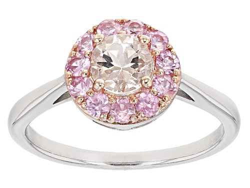Photo of .45ct Round Pink Morganite With .38ctw Round Pink Sapphire Silver Ring - Size 12