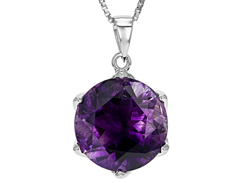 Photo of 7.76ct Round Moroccan Amethyst With .11ctw Round White Zircon Sterling Silver Pendant With Chain