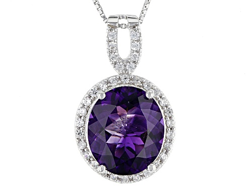 Photo of 6.06ct Oval Moroccan Amethyst With .60ctw Round White Zircon Sterling Silver Pendant With Chain