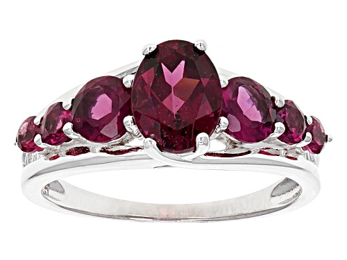 Photo of 2.47ctw Oval And Round Raspberry color Rhodolite Sterling Silver 7-Stone Ring - Size 12