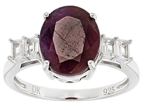 Photo of 4.45ct Oval India Ruby And .24ctw Baguette White Topaz Sterling Silver Ring - Size 8