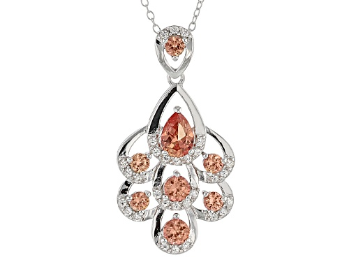 Photo of 2.01ctw Lab Created Padparadscha Sapphire With .65ctw White Zircon Silver Pendant With Chain