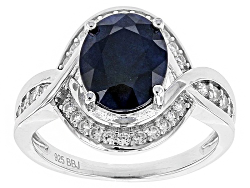 Photo of 2.72ct Oval Blue Sapphire With .31ctw Round White Zircon Sterling Silver Ring - Size 12