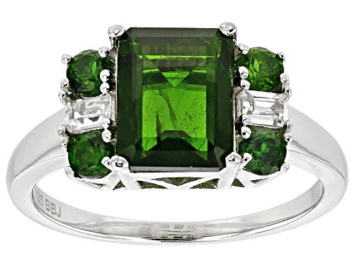 Photo of 2.80ctw Emerald Cut And Round Russian Chrome Diopside And .21ctw White Zircon Silver Ring - Size 11